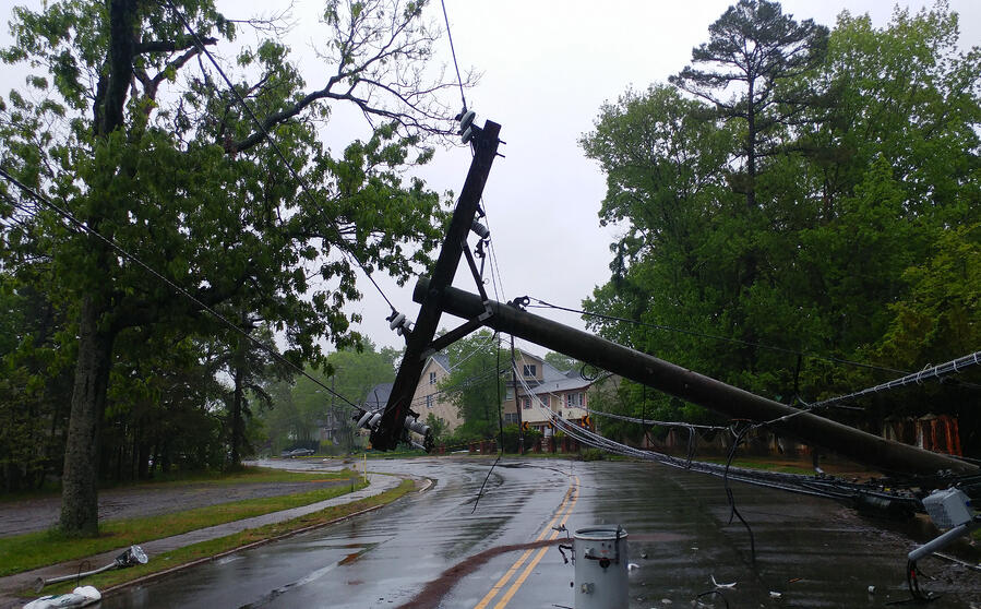 Damaged utility pole and transformer