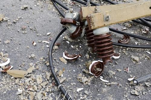 damaged utility pole