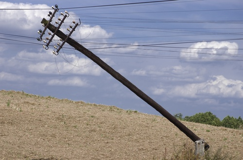 damaged utility pole