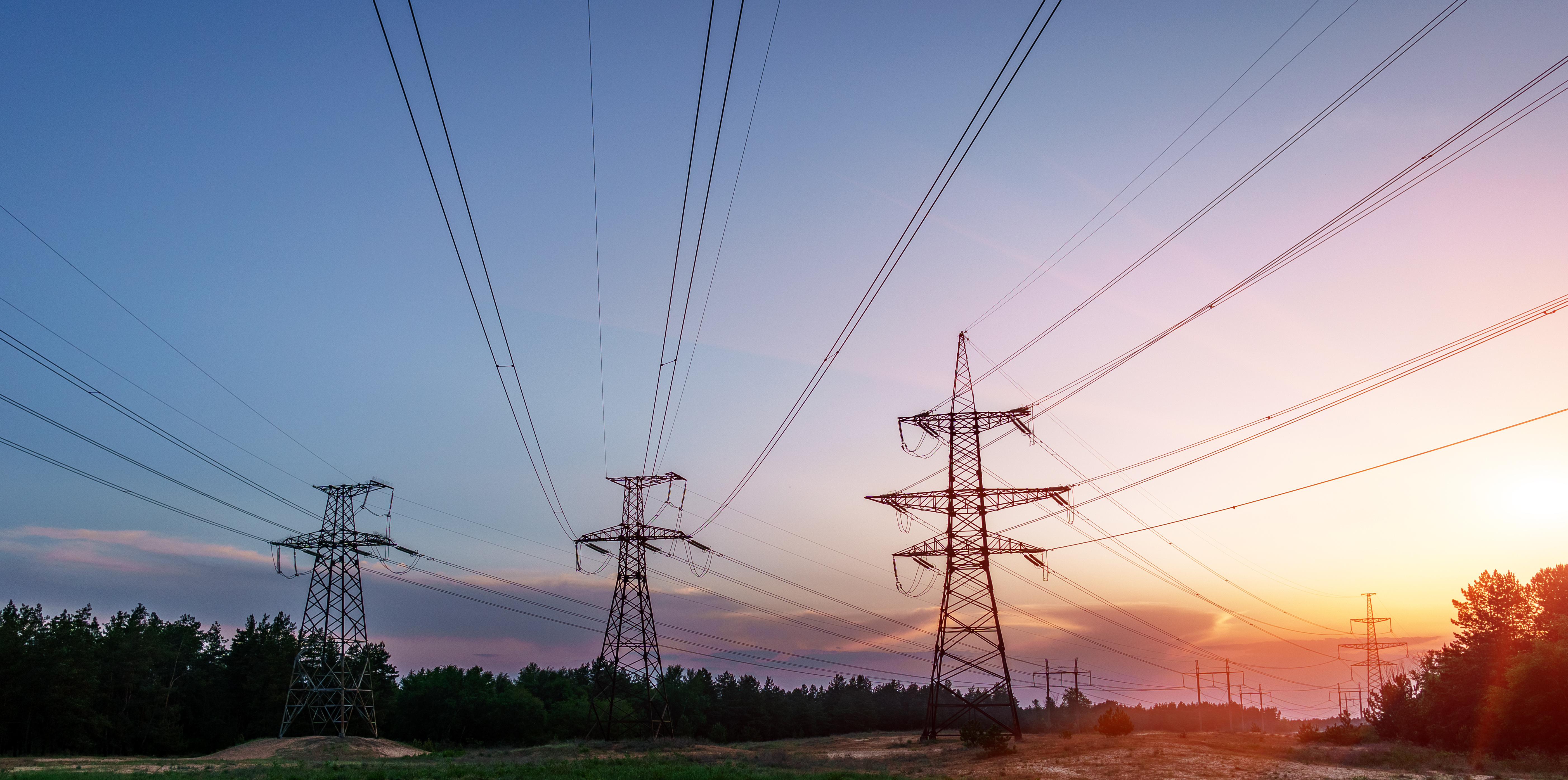 Power lines with sunrise